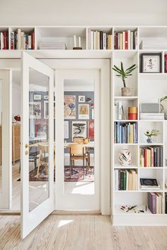 The perfect art wall and a built-in bookcase with French doors between ., The perfect art wall and a built-in bookcase with French doors between . - The perfect art wall and a built-in bookcase with French doors between … . Living Room Interior, Home Living Room, Home Interior Design, Living Room Designs, Living Room Decor, Living Room With Bookshelves, Living Room Shelving, Blue Living Room Walls, Nordic Living Room