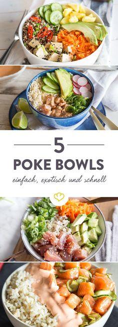 Marinierter Fisch, knackiges Gemüse, exotische Gewürze, etwas Reis oder Salat und fertig ist die leichte Schüssel voll Glück!