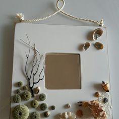 Ikea mirror, sea stuff , rope and glue