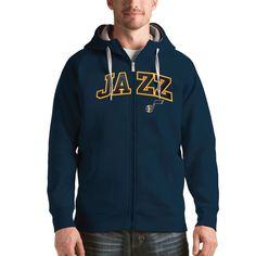 Utah Jazz Antigua Victory Full Zip Hoodie - Navy