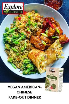 Create a unique, healthy twist on Chinese cuisine with this American-Chinese Take-Out recipe! It's made with edamame noodles, cauliflower fried rice, pork egg rolls, and chicken fried whey protein powder as an 'orange chicken' substitute. Delicious and nutritious! #easypastarecipes #chinesecuisine #healthyfood Easy Pasta Recipes, Healthy Recipes, Edamame Noodles, Edamame Spaghetti, Pork Egg Rolls, Cauliflower Fried Rice, Orange Chicken, Whey Protein, Plant Based Recipes