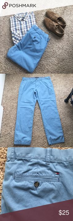 Men's Tommy Hilfiger Chino (38x32) Tommy Hilfiger chinos in sky blue. Size is 38x32. Custom fit is straight leg fit with regular rise and flat front. No obvious stains or snags; no fraying at the hems. Smoke free house and freshly laundered. Tommy Hilfiger Pants Chinos & Khakis