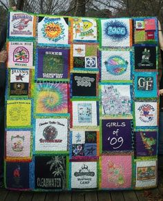 T-shirt quilt with scrappy sashing