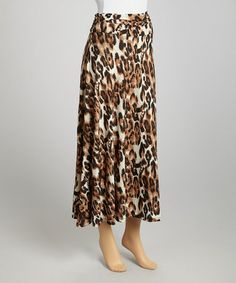 Take a look at this Brown Leopard Skirt by Avital on #zulily today! $24 !!