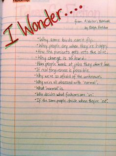 Writer's Notebook Ideas and Examples. Would be great as a warm- up in my writing. - Writer's Notebook Ideas and Examples. Would be great as a warm- up in my writing class. 5th Grade Writing, Middle School Writing, Writing Classes, Writing Resources, Teaching Writing, Writing Activities, Writing Tips, Writing Prompts, Writing Rubrics