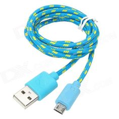 USB Male to Micro USB 5-Pin Male Nylon Mesh Charging Data Cable for Samsung - Blue + Yellow (102 CM)### For Wholesale price, pls contact Alex,  Whatsapp 0086-159-9443-4871 http://www.linkedin.com/pub/alex-lee/55/483/22b