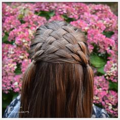Weave braid into two side ponytails.