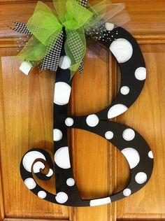Letter door or wall hanger - Wood Letters Letter Door Hangers, Door Letters, Letter Wall, Large Wooden Letters, Painted Letters, Painted Initials, Fancy Letters, Bubble Letters, Cursive Letters