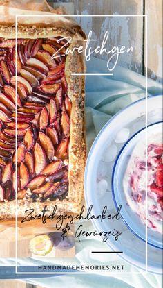 Von der Kunst der ungezwungenen Natürlichkeit. Burgenländische Tradition wird hier neu interpretiert: saftiger Kuchen mit nussigem Knusperteig, dazu erfrischend fruchtiges Gewürzeis mit Zwetschgenröster. Rezept am Blog. Sausage, Sweet Treats, Food, Evaporated Milk Recipes, Homemade Ice, Fruit, Food Food, Kuchen, Sweets