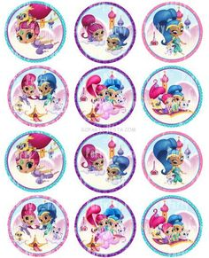 Use as cupcake toppers, stickers, party decorations, scrapbook elements etc! Cotton Candy Tree, Shimmer And Shine Characters, Shimmer Y Shine, Fun Printables For Kids, Cumple Peppa Pig, Girl Birthday Decorations, Bottle Cap Images, Bottle Caps, Bday Girl