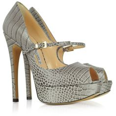 Luciano Padovan Gray Croco-Embossed Leather Peep-Toe Pump ($675) ❤ liked on Polyvore