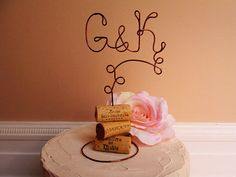 Vineyard Vintage Wedding Cake Topper with Your Initials - for the Wine Lovers - Vineyard Wedding, Rustic Wedding, Country Wedding