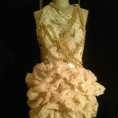 Creme and Metallic Gold Couture party dress is made of a sequined and fabric flower embroidered mesh with satin lining, completely ruched by hand, with hand draped and stitched gold chains. This item is Made-To-Order, so measurements will be required. Please allow 3-4 weeks for delivery.