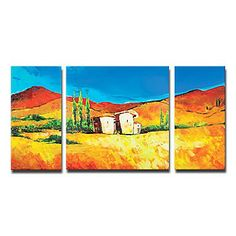 Hand-painted Landscape Oil Painting with Stretched Frame - Set of 3 - Wall Art Ideas