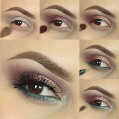 The muted floral tones in this look give it a charming antiqued quality. It maintains it's luster though, with a shimmery shade on the lid and a bit of sparkle on the lower lash line. Follow the step-