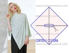 Com origem no continente Sul Americano o poncho feminino ganhou importância há alguns anos, de tal modo que hoje é uma vestimenta global. Dress Sewing Patterns, Blouse Patterns, Clothing Patterns, Fashion Sewing, Diy Fashion, Sewing Clothes, Diy Clothes, Sewing Hacks, Sewing Tutorials