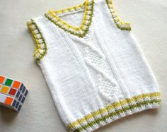 Children hand knitted wool vest, Knitted Baby Toddler Vest, Boy white vest, Tank top for boy