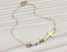 Sideways cross bracelet pearl bracelet wedding by OlizzJewelry