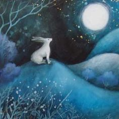 Amanda Clark original and print 'Moonbeam' Art And Illustration, Illustrations, Fantasy Kunst, Fantasy Art, Clark Art, White Rabbits, Rabbit Art, Bunny Art, Moon Art