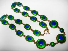 "Finest Foiled Peacock Eye Glass Enamel Necklace 18""  $536"
