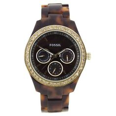 Fossil Women's ES2795 Plastic Analog with Brown Dial Watch Fossil. $89.95. Analog quartz movement. Case diameter: 37. Plastic case. Scratch resistant mineral. Water-resistant to 50 Meters(165 feet)
