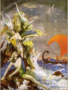 'The Sirens Temptations of Ulysses' ~ Willy Pogany, 1948