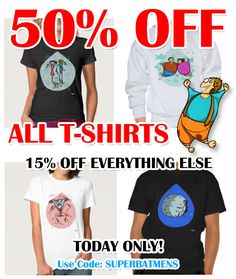 AWESOME DISCOUNT!!!  50% OFF ALL T-SHIRTS  15% Off Everything Else    Today Only!     Use Code: SUPERBATMENS  http://www.zazzle.co.uk/thesbiru #funny #illustration #artwork #drawing #art #thesbirù #comic #cartoon #puppet #zazzle #artprint #tshirt #shopart #children #joy #child #fun #humor #happiness #childhood #joy #smile #kid