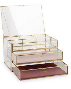 Gold & Glass Pink Velvet Three Tier Jewellery Box - New Ideas Gold Rooms, Gold Bedroom, Glass Jewelry Box, Jewelry Holder, Makeup Storage Organization, Organization Ideas, Storage Ideas, Coral Jewelry, Diy Jewelry