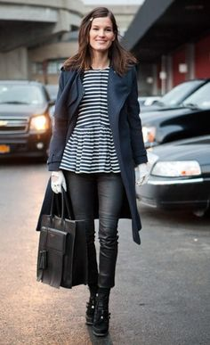fringed Acne bag, leather pants and a breton striped peplum top