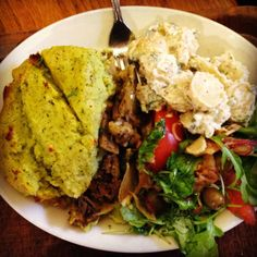 Cauliflower, Fennel and Puy Lentil Pie with Dill and Chervil Mash, Tomato and Rocket Salad, and Garlic Potatoes with Roasted Hazelnuts from Cornucopia Wholefood & Vegetarian Restaurant Dublin, Ireland How To Roast Hazelnuts, Veg Recipes, Whole Food Recipes, Rocket Salad, Dublin Ireland, Fennel, Lentils, Cauliflower