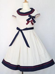 Victorian maiden   French Marine Boat Neck Dress