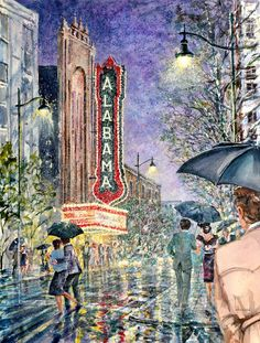 Birmingham, Alabama on a rainy night Artist: Larry Strickland Pictures To Paint, Cool Pictures, Al Image, Artwork Prints, Canvas Prints, Birmingham Museum Of Art, Street Mural, Magic City, Birmingham Alabama