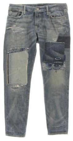 Polo Ralph Lauren Womens Astor Denim Patchwork Boyfriend Jeans