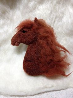 Needle felted horse head brooch by SLW