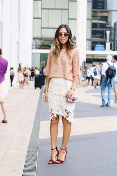 20 Ways to Make a Lace Skirt Work for Daytime - peach top + white lace pencil skirt and red satin heels | StyleCaster