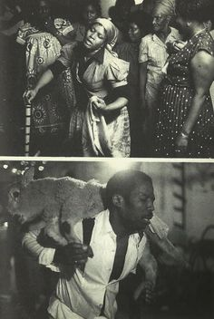"""Haitian Voodoo in Brooklyn, Taken from """"Voodoo: Truth and Fantasy"""" by Laënnec Hurbon. (Reminds me of my Pentecostal upbringing, strangely. Haiti, Black White, Black Art, Religion In Africa, New Orleans Voodoo, Papa Legba, Voodoo Hoodoo, Occult Art, Southern Gothic"""