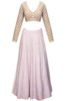 Lilac pearls and beads embroidered lehenga set available only at Pernia's Pop-Up Shop.