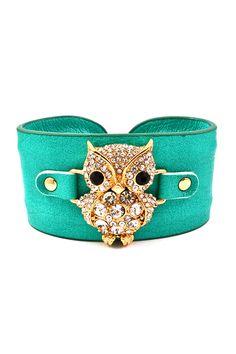 FOR CASSIDY !!!Teal Crystal Owl Cuff | Emma Stine Jewelry Bracelets