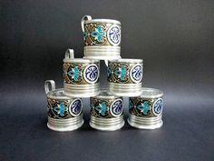Set of 6 Vintage Glass Holder, Soviet Era Glass Holders, USSR '70, Silver Blue Glass Holders, Podstacannik