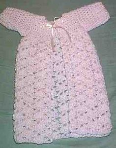 """Baby's  Preemie Kimono-     ~Lyn's Designs~   (\0/)   2002  Materials: RH Baby Pompadour Sport Yarn: Pink Frost, size """"F""""  hook, pale pink satin ribbon  (Note: there is a mistake in the row count.)"""
