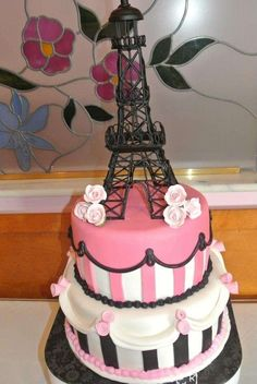 Parisian, French, Paris, Pink, Pink and black Bridal/Wedding Shower Party Ideas | Photo 11 of 21