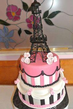 Paris Themed Birthday Cakes Handpainted Fondant Panels On A - Birthday cake paris
