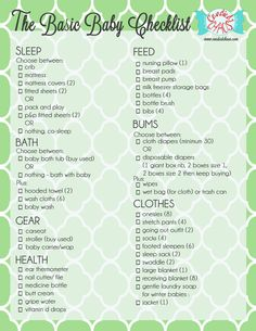 Printable Baby Checklist  Click Here For A Printable Baby