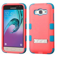Insten Red/ Teal Hard PC/ Silicone Dual Layer Hybrid Rubberized Matte Case Cover with Stand For Samsung Galaxy J3, #2204941