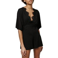 Petite Topshop Jersey Lace Plunge Romper (830 ZAR) ❤ liked on Polyvore featuring jumpsuits, rompers, black, petite, topshop, lace rompers, playsuit romper, party rompers and long-sleeve romper