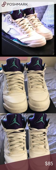Jordan Retro Grapes👟 Jordan 5s youth 4.5 fits women's 6.5. Worn but no damage or wear just stains on front all it needs is some cleaning. Sneakers in great condition!!!🤗❤️*SMOKE FREE HOME🚭🚭🚭* Jordan Shoes Sneakers