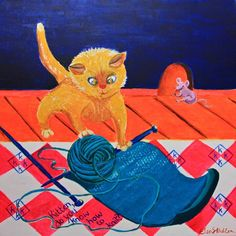 K is for Kitten....'Kitten, do you know how to knit?'
