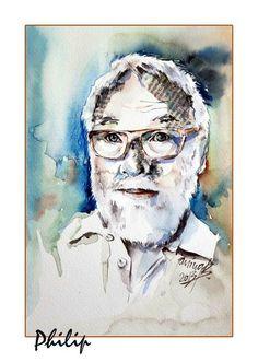 Philip / Aquarell-Collage 17x24cm Collage, Portrait, Art, Watercolor, Figurine, Art Background, Collages, Headshot Photography, Kunst