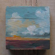landscape painting, abstract painting, original painting, cloud painting, oil painting, original art, square art, small art, minimal art de MariaMazaPaintings en Etsy