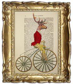 Classy deer in red  Mixed Media  Digital by Cocodeparis on Etsy,